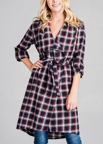 Image of Navy Plaid Trench Jacket