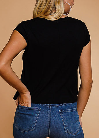 Black Crew Neck Ribbed Top