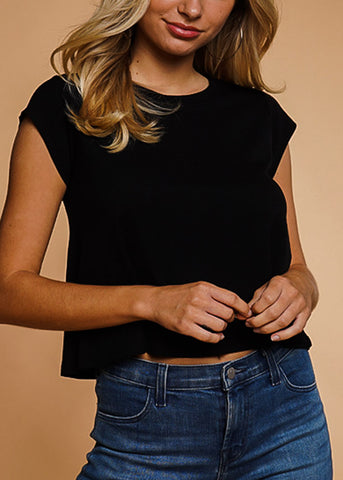 Image of Black Crew Neck Ribbed Top