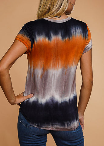 Image of Orange Tie Dye V-Neck Top