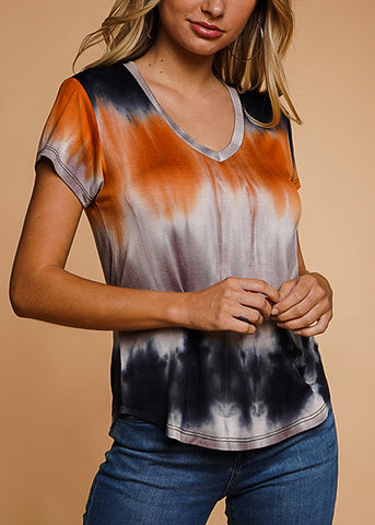 Orange Tie Dye V-Neck Top