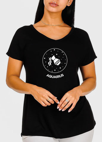 "Image of Black Graphic Top ""Aquarius"""