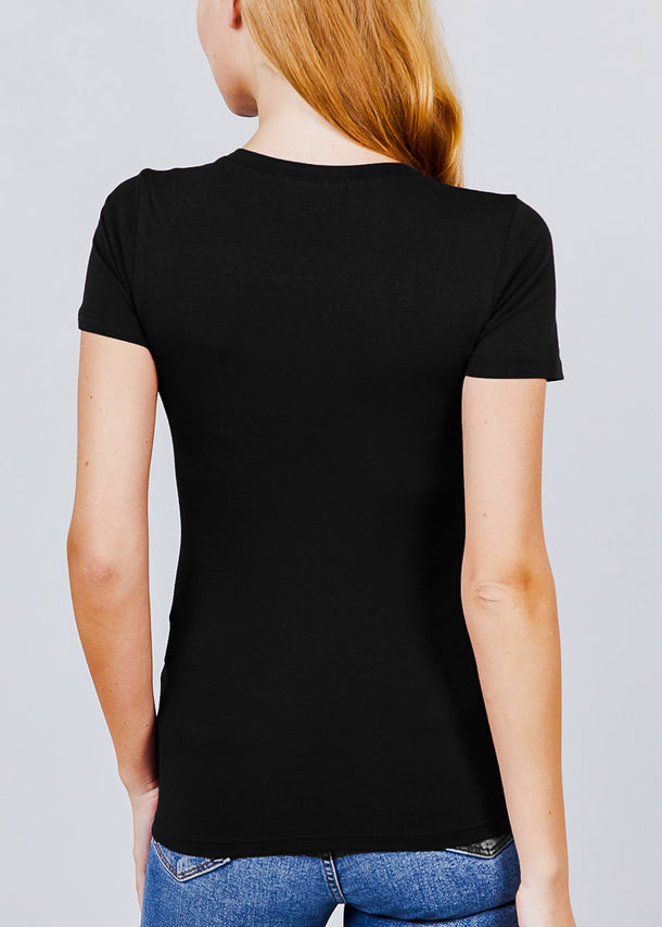 Crew Neck Basic Black T-shirt