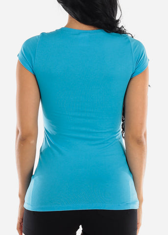 Image of Crew Neck Basic T-Shirt (Turquois)