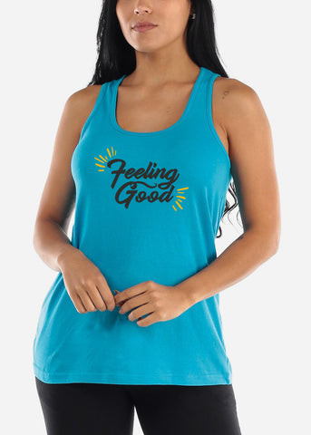 """Filling Good"" Graphic Turquoise Loose Fit Jersey Tank Top"