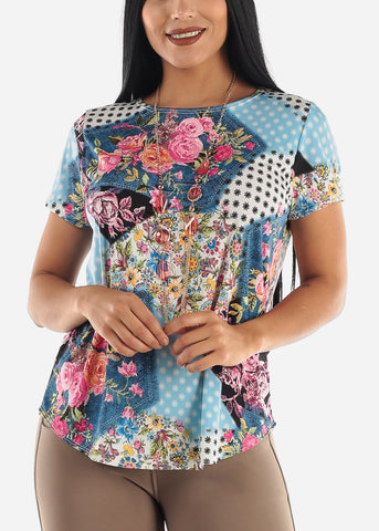 Image of Multicolor Floral Top