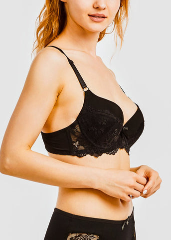 Image of Lace Detail Push Up Bras ( 6 PACK )