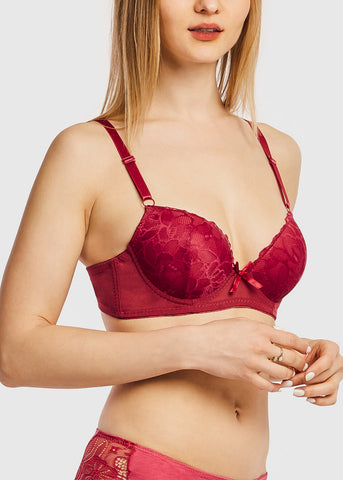 Image of Denim Cup Lace Push Up Bra (6 PACK)