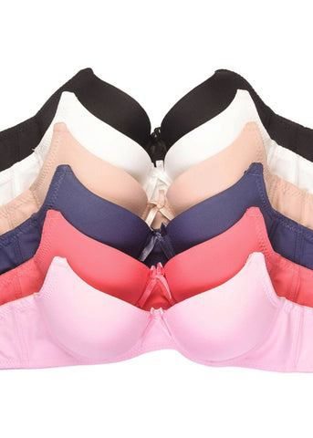 Plain Assorted Full Cup Bra (6 PACK)