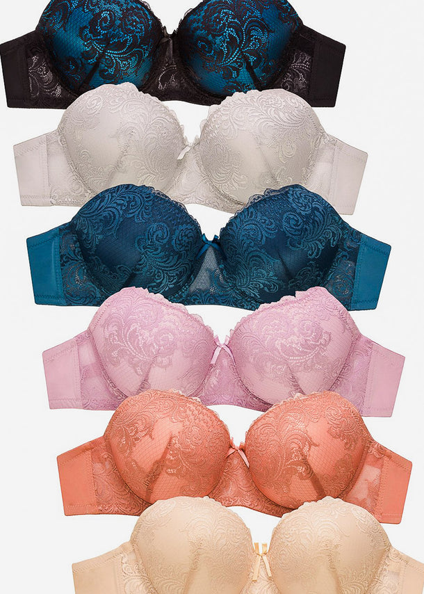 Push-Up Full Cup Lace Bras (6 PACK)