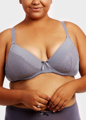 Image of Plain Lace D Cup Bras (6 PACK)