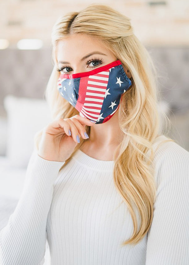 American Flag Triple Layer Cotton Face Cover