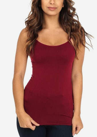 Image of Cheap Strap Seamless Top (Burgundy)
