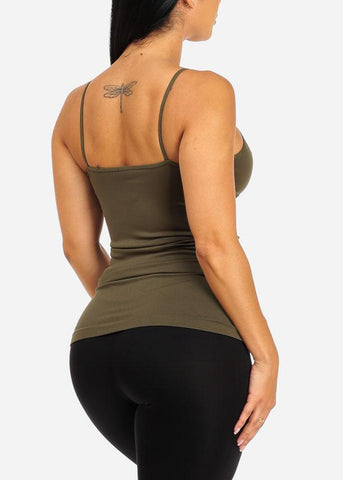 Image of One Size Spaghetti Strap Seamless Top (Dark Green)