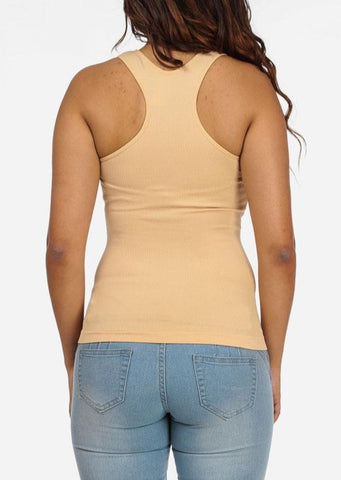 One Size Racerback Seamless Top (Beige)