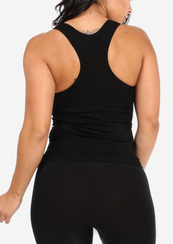 Image of One Size Racerback Seamless Top (Black)