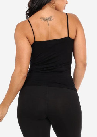 Image of One Size Spaghetti Strap Seamless Top (Black)