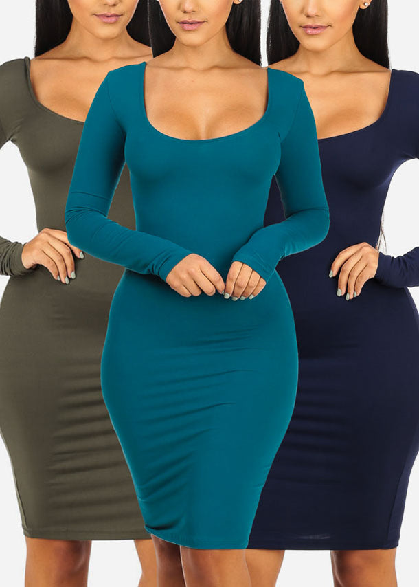 3 Pc Pack Bodycon Dresses G12