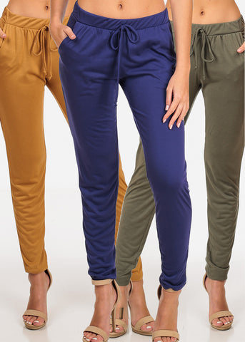 Essential Basic Stretchy Pull On Assorted Colors Pants Mega Pack Sale Savings Clearance