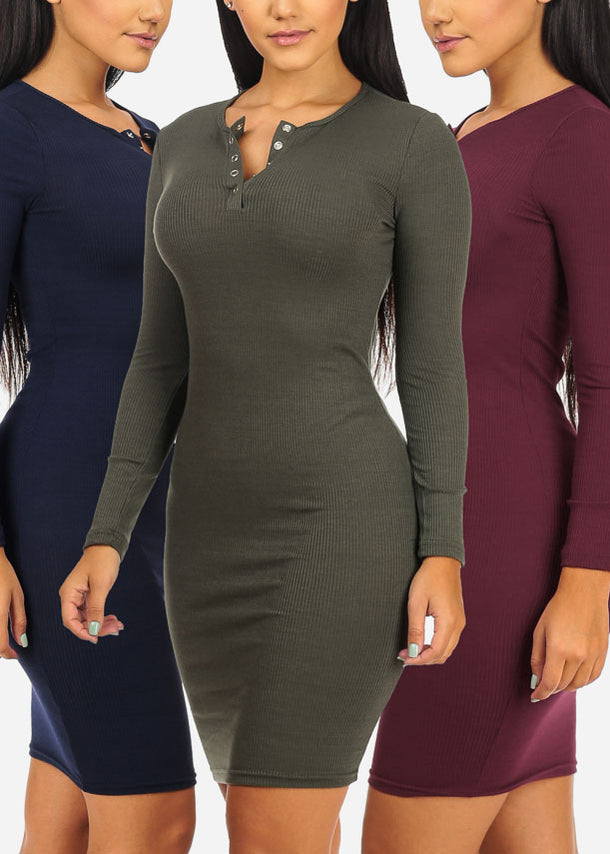 3 Pc Pack Thin Ribbed Dresses G62