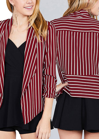 Image of Office Business Wear 3/4 Sleeve Open Front Striped Blazers (3 PACK)