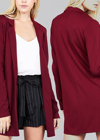 Trendy Office Business Wear Solid Open Front Long Sleeve Blazers (3 PACK)