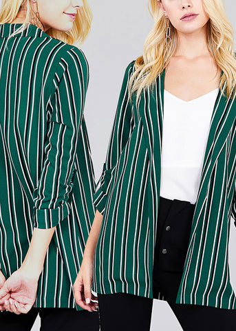 Image of Stylish Open Front 3/4 Sleeve Office Business Wear Striped Blazer (3 PACK)
