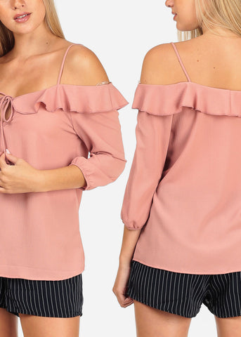 Pack Sale Mega Savings Affordable Cold Shoulder Bundles Dressy Ruffle Detail Blouses For Sale