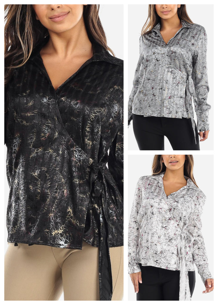 Wrap Front Crinkled Blouse (3 PACK)