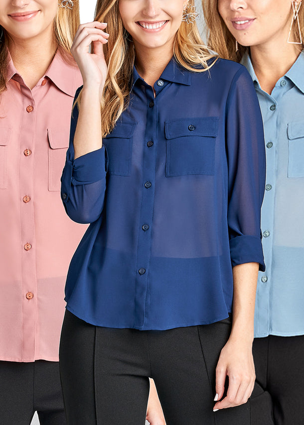 Women's Junior Ladies Dressy Stylish Must Have Going Out Office Wear See Through Blouse Chiffon Tops Pack Deal Mega Sale
