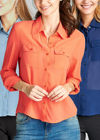 Going Out Lightweight Summer Stylish Button Up 3/4 Sleeve Button Up Blouses (3 PACK)