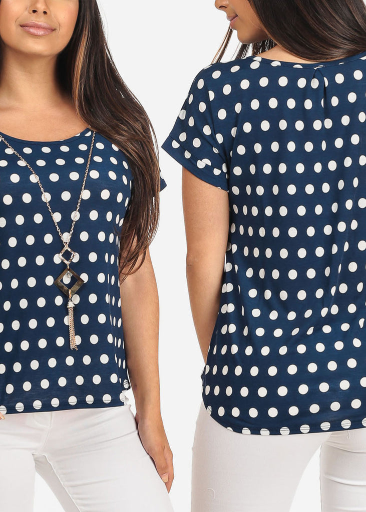 Mega Pack Sale Savings Affordable Price Drop Short Sleeve Polka Dot Dressy Tops With Necklace