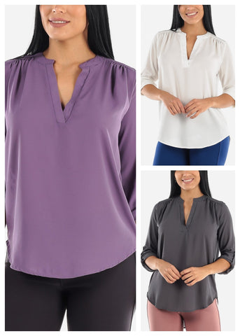 Image of 3/4 Sleeve Chiffon Blouses (3 PACK)