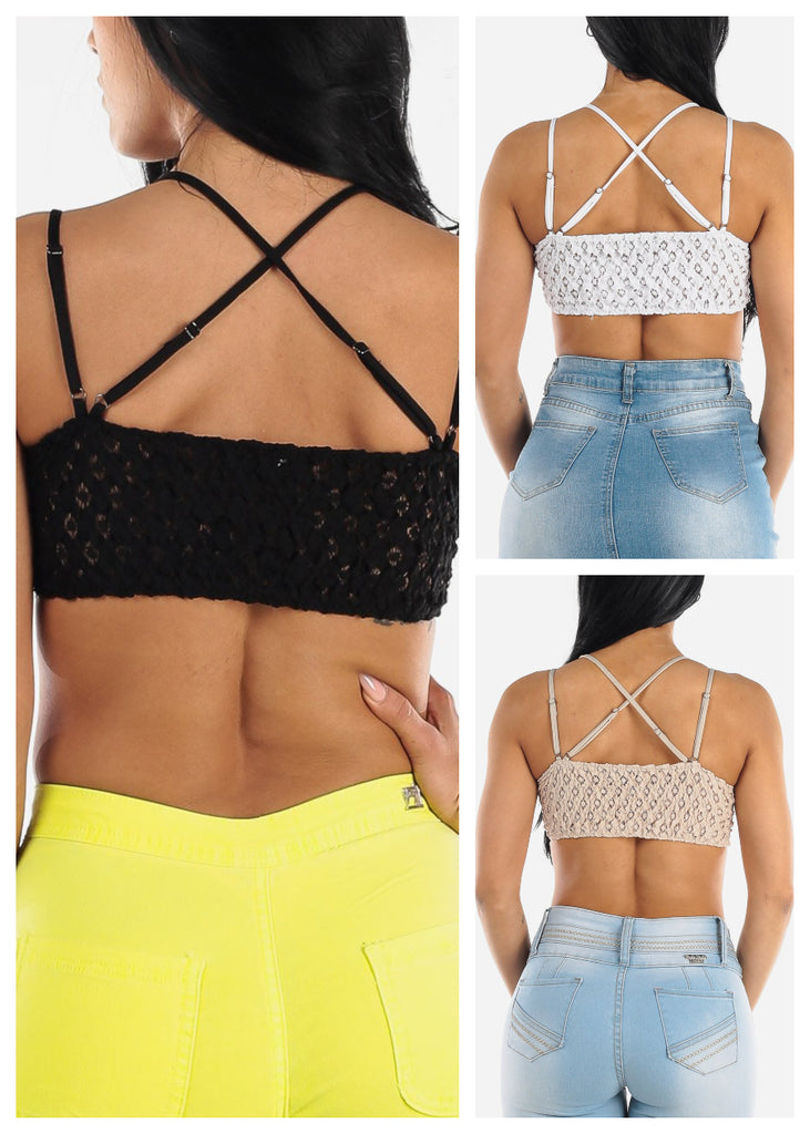 V- Neck Bralettes (3 PACK)