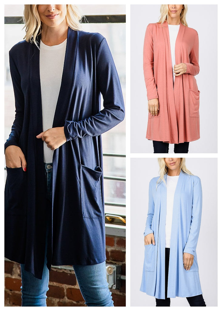 Open Front Maxi Cardigan (3 PACK)
