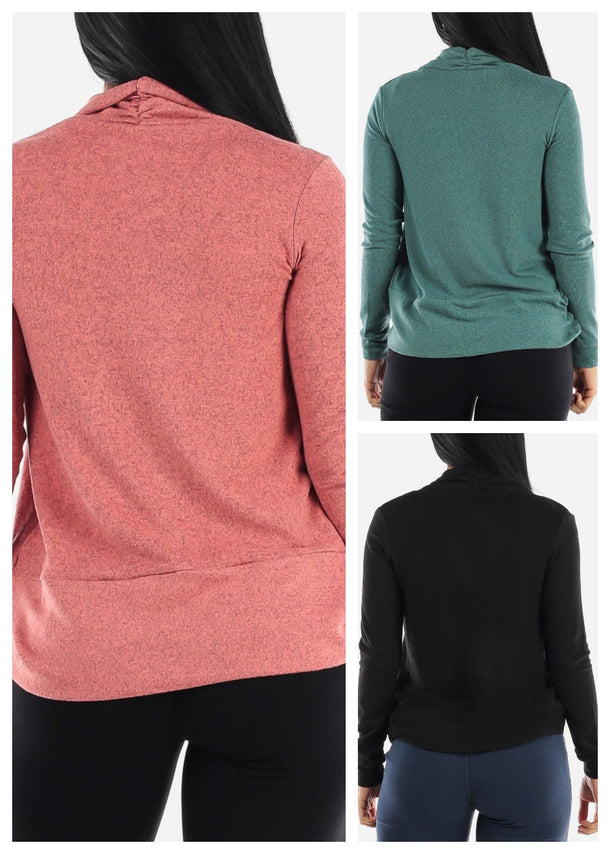 Long Sleeve Open Front Cardigans (3 PACK G55)