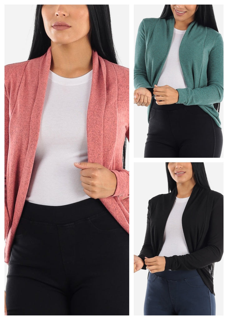 Long Sleeve Open Front Cardigans (3 PACK)