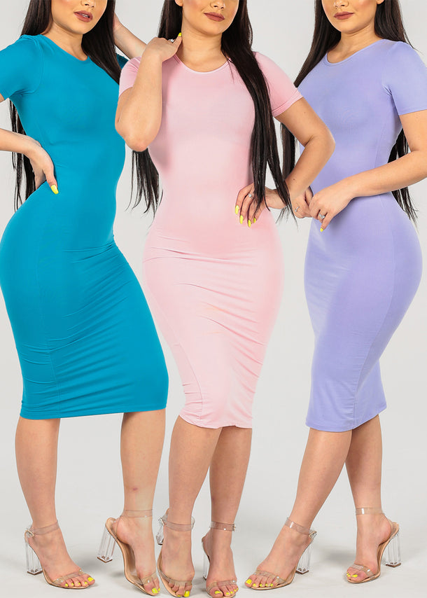 Short Sleeve Round Neck Assorted Colors Mega Pack Deal Dresses On Sale Clearance At Affordable Price
