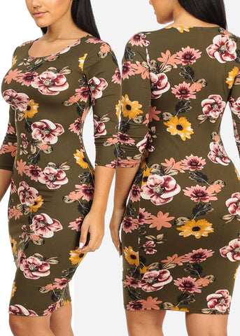 Image of Floral Bodycon Dresses (3 PACK)
