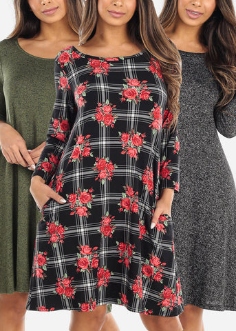 Casual Loose Fitting Dresses (3 PACK)