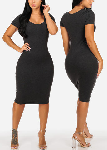 Women's Junior Ladies Cute Casual Must Have Tight Fit Solid Colors Midi Bodycon Pack Deal Dresses Mega Sale Clearance Savings