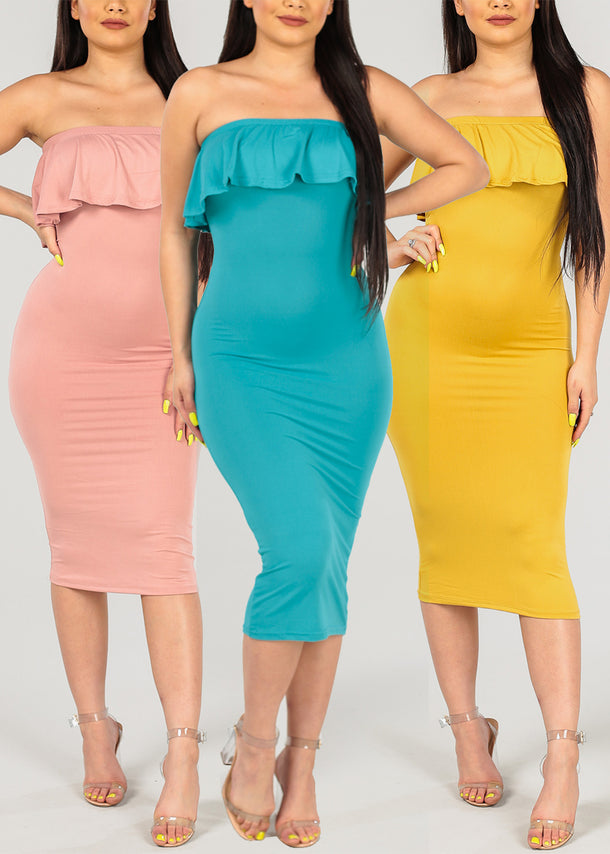 Sexy Assorted Colors Strapless Bodycon Dresses Mega Pack Deal Savings On Sale