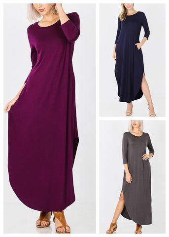 Round Hem Maxi Dress (3 PACK)