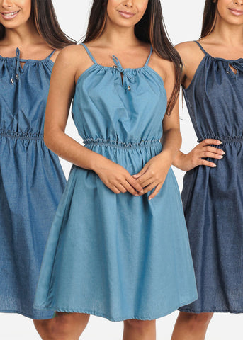 Women's Junior Ladies Cute Must Have Sleeveless Denim Lightweight Summer Vacation Dresses Mega Sale Clearance Affordable Pack Deals