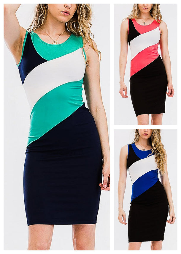 Color Block Bodycon Dresses (3 Pack G43)