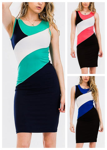 Image of Color Block Bodycon Dresses (3 Pack G43)