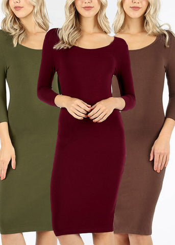 Basic Bodycon Dresses (3 PACK)
