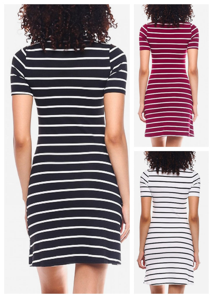 Casual Striped Mini Dresses (3 Pack G84)