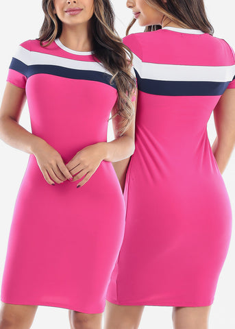 Image of Cute Short Sleeve Bodycon Stripe Mini Dresses Mega Pack Deal On Sale For Women Ladies Junior On Sale