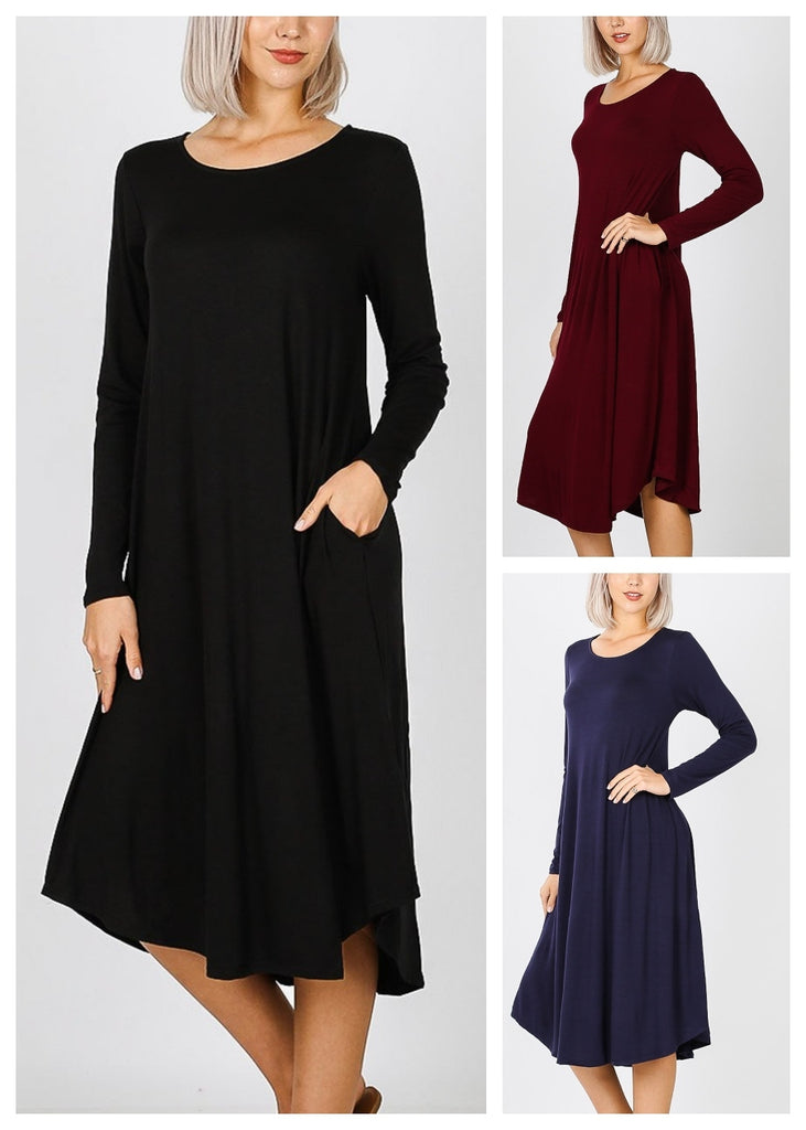 Long Sleeve Pocket Dresses (3 PACK)